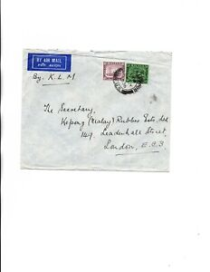 Malaya Selangor 1936 by KLM airmail to England
