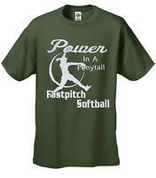 Kids Softball T Shirt Power In A Ponytail Black Imprint Youth Daughter Children