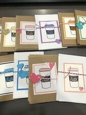 "3 Handmade Coffee Thank You ""Thanks a Latte"" Blank Greeting Cards"