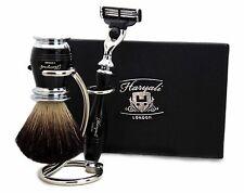 Pure Black Badger Hair Shaving Brush in Black 3 Edge Compatible Razor & Stand