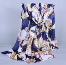 Foulard Mousseline Femme Classique Carrousel Bleu - Bijoux des Lys