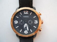 Fossil men's chronograph black leather band Analog & water resist watch.Jr-1369