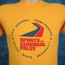 vtg 80s WRIGHT STATE UNIVERSITY CEREBRAL PALSY SPORTS PAPER THIN T-Shirt XS ohio