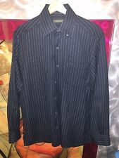 Ermenegildo Zegna Navy Striped Shirt Size M Made in ITALY