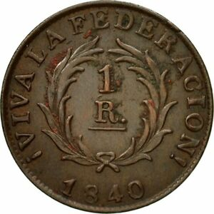 [#435486] Coin, Argentina, BUENOS AIRES, Real, 1840, AU(50-53), Copper, KM:7