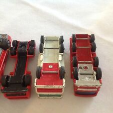 Matchbox Lesney Vintage 2 Fire trucks, 2 Pipe trucks 1 Container LOT of 5 no box