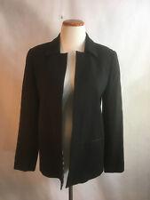 100% Wool DonCaster Black Blazer Jacket Animal Print Lined Open Front Size 10