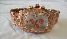NEW Men's GENEVA Rose Gold/Gemstone/Silver Bling Luxury Watch + Free Battery