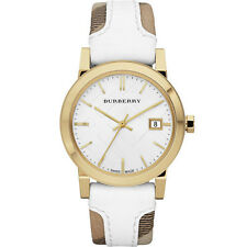 Burberry BU9110 Large Check Leather Strip On Fabric Watch