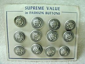 BUTTONS--Anchor/Crown - Supreme Value Fashion---Silver Metal- 12 Orig  Card/Vtg