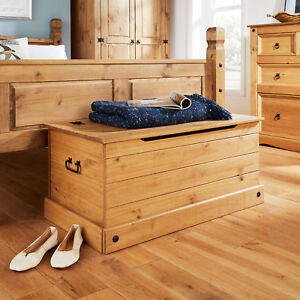 Corona Solid Pine Ottoman Single Bedding Box Toy Chest Traditional Mexican Style