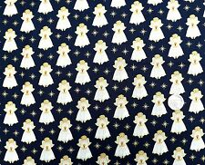 ANGELI DI NATALE IN TESSUTO NAVY FQ 50x56 cm MAKOWER mk1511b 100% COTONE