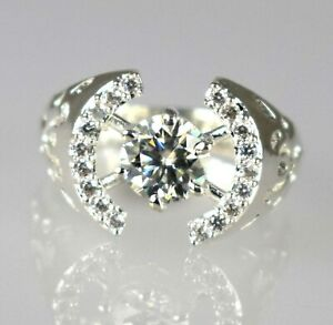2.51 Ct White Diamond Solitaire Ring With Accents Simple Lovely Gift