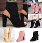Womens Open Peep Toes High Heels Short Ankle Boots Sandals Pumps Shoes Plus Size