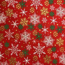 Gold/Green Snowflakes on Red Metallic Merry Christmas Print 100% Cotton Fabric