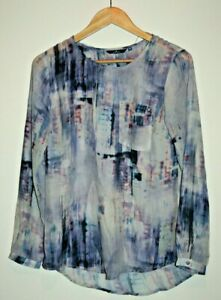 Tom Tailor Women's Blue Mix Long Sleeve Abstract Translucent Blouse Size 36 M/L