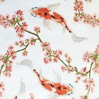 Oriental koi carp fabric, Japanese Chinese style fish, white cotton, goldfish