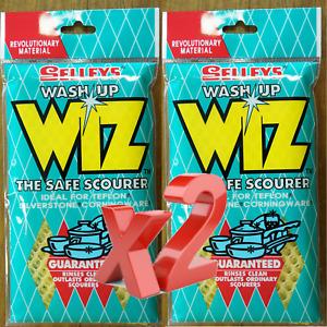 2x Selleys Wash Up Wiz The Safe Scourer For Teflon Silverstone Corningware Wizz