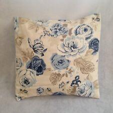 "NEW 16"" Shabby Dark Blue & Cream Rose Pretty Floral Vintage Chic Cushion Cover"