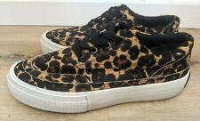 ALL SAINTS Women's Mercia leopard print calf hair sneakers US size 6.5 NEW
