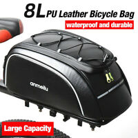 8L Bike Rear Seat Bag Bicycle Backseat Cycling Pannier Rack Trunk Storage Bag PU