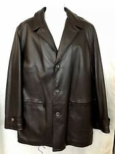 Armani Collezioni Jacket Brown Leather Soft Wool Lining Zipper Pockets size 42