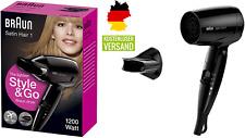 BRAUN Satin Hair 1 Style&Go klappbarer Haartrockner 1200W Reise Fön Föhn schwarz