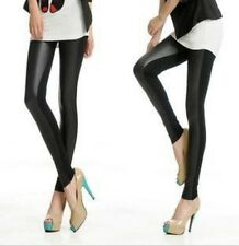 Fashion Women's Faux Leather Stretch High Waisted Tight Pants Leggings Black LG
