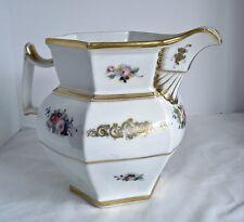 Antique Porcelain Pitcher Home Decor Hand Painted Flower Gold Decoration 03263