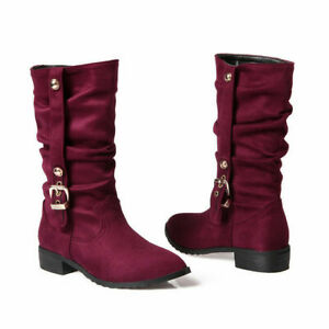 Women Wrinkles Mid-calf Boots Suede Side Buckle Low Block Heel Pointed Toe Shoes