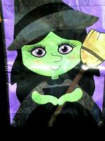 Witch Trick or Treat Tote Bag Reflective Glitter Green Face Cute Halloween