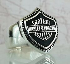 Harley Davidson Motorcycle Logo Ring Solid 925 Sterling Silver  Mens Ring