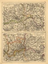 LONDON & MANCHESTER. Environs. Lancs Cheshire Middx Surrey JOHNSTON 1897 map