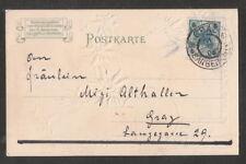 """Ö: Prägelithografie Erster Sonderstempel von Graz """"Graz-Sängerhalle"""" 1902 gel."""