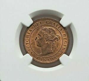 1901 CANADA QUEEN VICTORIA BRONZE CENT NGC MS-64 RED AND BROWN KM7