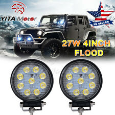 2X 4INCH 27W Round LED WORK LIGHT BAR Spot Flood OFFROAD DRIVING FOG LAMP 12V Y