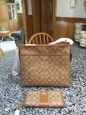 New Coach F34938 F54630 File Bag, Crossbody Handbag + Wallet. Khaki/Saddle. NWT
