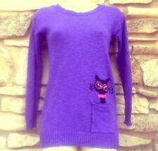 Poof Girl Purple Sweater Black Cat Rhinestone Collar Pocket Pullover Bust 36-40