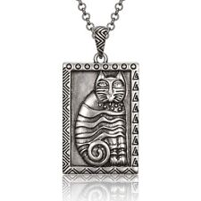 """Gato Cat Silver Laurel Burch Necklace 20"""" Chain"""