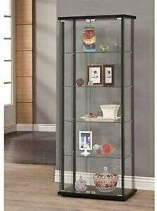 5-Shelf Glass Curio Display Cabinet Tower Black And Clear 950170