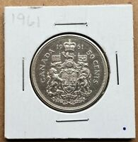 Canada 1961 50 Cents Fifty Cents 80% Silver Coin - Canadian - Free Shipping!