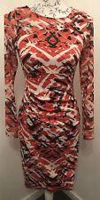 Designer Karen Millen Fitted Pencil Dress Red & Navy. Bargain Brand New.Was £160