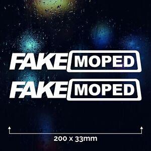 2 x FAKE MOPED Car Sticker Vinyl Decal Funny Bumper Window Bike Ride Joke