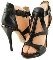 L.A.M.B Quiana Women's Black Leather Open Toe Heels Pumps Size: 8 ½ M