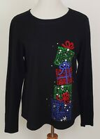 Holiday Time Christmas T Shirt Top Black Size XL Womens Gifts Ugly Long Sleeves