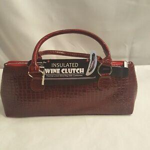 Primeware Insulated Wine Bottle Clutch Carrier Tote Handbag w Corkscrew Red New