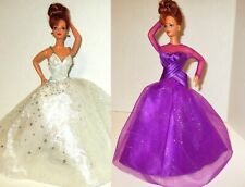 Barbie Doll Dresses Holiday Sparkle Star Beaded & Purple Passion Glitter Gowns