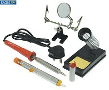Soldering Iron Tool Kit Set Stand Sponge Desolder Pump Solder Wire Magnifier Gc