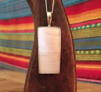 Large Vintage Sterling Silver Mother Of Pearl Pendant