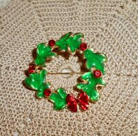 Vintage Enamel Christmas Wreath Bow Brooch Pin Red Rhinestone Gold-tone C127